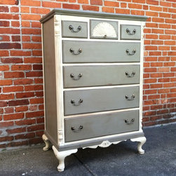 Custom Painted Dressers - French Grey & Antique White - Sold. Similar available in our current inventory of antique furniture. Email us at kingstonkrafts@gmail.com to receive photos of similar antique inventory. Or call 401-516-7711 to schedule a visit in our Providence, RI studio.