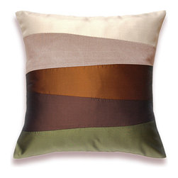 Cream Beige Rust Brown Olive Green Pillow Cover 16 in SIENNA DESIGN -