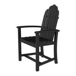 Polywood - Eco-friendly Dining Chair in Black - Solid, heavy-duty construction withstands natures elements. Outdoor dining should be the perfect blend of casual and comfortable. The Polywood Classic Adirondack Dining Chair serves up equal portions of both. Polywood lumber requires no painting, staining, waterproofing, or similar maintenance. Polywood lumber does not splinter, crack, chip, peel or rot and it is resistant to corrosive substances, insects, fungi, salt spray and other environmental stresses.