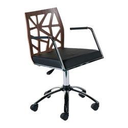 Euro Style - Euro Style Sophia Office Chair X-05172 - Finish: Walnut/Black Fabric/Chrome.