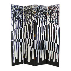 Wayborn - Wayborn Hand Painted Black Forest Room Divider in Black/Silver - Wayborn - Room Dividers - 2281 - Wayborn hand painted screens start with a cedar plywood frame covered in a cheesecloth material. Then layer after layer of plaster is applied; each layer must dry before another layer can be applied. After all the plaster has been applied several coats of lacquer is put over the entire surface. At that time the artist begins to sketch out the painting directly on the panels of the screen and begins painting the design with water based paint.  Each one of these screens has its own characteristics and is truly a work of art.