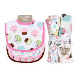 """Trend Lab - Bouquet Set - Cupcake - Bib & Burp Cloth - Keep messes to a minimum with this stylish Cupcake Bib and Burp Cloth Set by Trend Lab. Set includes three bibs and four burp cloths each with fun, modern printed cotton on the front and terry on the back. Bib patterns include: one scatter print of cupcakes in bubblegum and hot pink, robin's egg blue, turquoise, green apple, limeade and chocolate on a white background with hot pink trim; one bubble dot print in bubblegum pink, hot pink, robin's egg blue, turquoise, green apple, limeade and chocolate on a white background with bubblegum pink trim; and one stripe print in bubblegum pink, hot pink, robin's egg blue, chocolate and white with chocolate trim. Burp cloth patterns include: one scatter print of cupcakes in bubblegum and hot pink, robin's egg blue, turquoise, green apple, limeade and chocolate on a white background; one stripe print in bubblegum pink, hot pink, robin's egg blue, chocolate and white; one bubble dot print in bubblegum pink, hot pink, robin's egg blue, turquoise, green apple, limeade and chocolate on a white background; and one with solid bubblegum pink velour. Each bib measures 9"""" x 12"""" with Velcro closure and each burp cloth measures 10"""" x 13"""". Bib and Burp Cloth Set coordinates with the Cupcake collection by Trend Lab."""