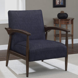 None - Gracie Retro Indigo Arm Chair - The Gracie Retro Arm Chair brings an updated version of a mid-century modern style to the home. The chair has a deep walnut finish along with colorful indigo upholstery.