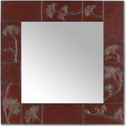 BlindSpot Mirrors - California Buckeye Branches leafing out in late winter. Finish in Tibetan red. Custom sizes available.