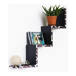 Blancho Bedding - [Leopard Purple] Ladder-Shaped Leather Shelf / Bookshelf / Floating Shelf - floating wall shelf, kitchen wall decor, storage shelf, wood wall shelves, bathroom wall decor, wall bookshelves, ladder shelves, stepped shelves,