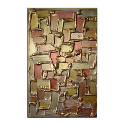 Matthew's Art Gallery - Oil Painting Abstract Art on Canvas Gold Squares - The Painting:  Gold Squares