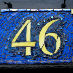 """Nutmeg Designs - Mosaic House Numbers on Slate - Mosaic House Number on slate, stained glass, gold smalti and glass tile, two digit, 12x8"""""""