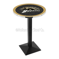 Holland Bar Stool - Holland Bar Stool L217 - Black Wrinkle Western Michigan Pub Table - L217 - Black Wrinkle Western Michigan Pub Table belongs to College Collection by Holland Bar Stool Made for the ultimate sports fan, impress your buddies with this knockout from Holland Bar Stool. This L217 Western Michigan table with square base provides a commercial quality piece to for your Man Cave. You can't find a higher quality logo table on the market. The plating grade steel used to build the frame ensures it will withstand the abuse of the rowdiest of friends for years to come. The structure is powder-coated black wrinkle to ensure a rich, sleek, long lasting finish. If you're finishing your bar or game room, do it right with a table from Holland Bar Stool. Pub Table (1)