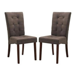 Wholesale Interiors - Anne Modern Dining Chair - Set of 2 - Though decidedly designed for an informal dining room furniture arrangement, your favorite decor easily brings this chair up the ranks to being worthy for an elegant dinner party. The solid wood legs are finished in a deep, dark brown stain. Finishing off your new contemporary dining chair is a foam cushion.