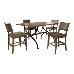 "Hillsdale Furniture - Hillsdale Charleston 5-Piece Counter Table Set with Parson Stools - Hillsdale's Charleston collection beautifully combines a rustic desert tan wood finish with a dark grey metal and offers a multitude of choices to create the perfect dining group for your home. Starting with the chairs, you have the choice of three lovely designs: The X-Back chair combines a rustic desert tan top accent with a transitional metal X in the center of the back and a brown faux leather seat. The parson's chair is traditional in design and combines the rustic desert tan finish with the brown faux leather seat. The ladder back chair features 3 rungs in the desert tan finish, enhanced by the dark grey metal and brown faux leather seat. Now that you have decided on your chair, let's look at the table options: The stunning rectangle table features a wood top that is generously scaled to easily accommodate 6. The simple round table features a 48"" diameter wood top with flared metal legs. The round wood table is 48"" in diameter and features a wonderful metal accent on the base."