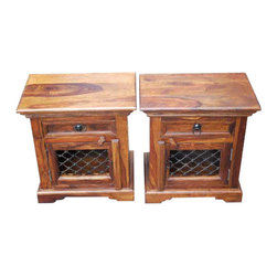 Solid Wood Night Stand Single Drawer End Side Table - Quaint and Artistic handmade colonial style Nightstand with one drawer and small storage cabinet.