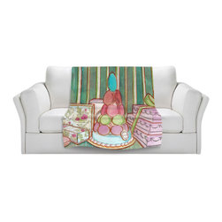 DiaNoche Designs - Throw Blanket Fleece - Diana Evans Laduree Window Shopping II - Original Artwork printed to an ultra soft fleece Blanket for a unique look and feel of your living room couch or bedroom space.  DiaNoche Designs uses images from artists all over the world to create Illuminated art, Canvas Art, Sheets, Pillows, Duvets, Blankets and many other items that you can print to.  Every purchase supports an artist!