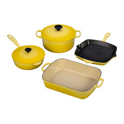 6-Piece Signature Cookware Set, Soleil - If you like to cook it all up for breakfast, opt for this happy yellow set by Le Creuset. The high-quality enameled cast iron will make your meal taste even better.