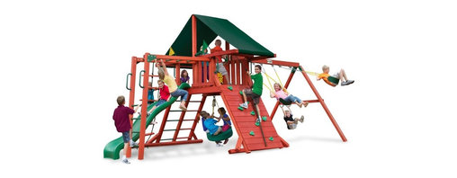 Gorilla Playsets - Gorilla Playsets Sun Climber II Wood Swing Set with Canvas Green Canopy - 01-002 - Shop for Swings Slides and Gyms from Hayneedle.com! Encourage your children's love of nature by getting them out in it with the Gorilla Playsets Sun Climber II Wood Swing Set with Canvas Green Canopy. This perch offers a high lookout from which they can view and explore the wild world around them. Outdoor play is so critical for children because their growing bodies need sunlight and fresh air to properly process nutrients. This fabulous play set has loads of features that will keep them busy all day. But not to worry the attractive Canvas Green-colored Sunbrella fabric canopy will help protect them from harmful UV rays and give them a place to rest and refuel. Parents will also love the other safety features such as securely anchored easy-grip handles; safe-option ladder; rock wall safety rope; and overall stable square footing. Even the wood construction of this set has a more natural tactile visual and olfactory sense about it than sets that are constructed entirely out of plastics and metals. As your child plays with this set imagining it as a castle a fort or even a ship the swings and numerous climbing features provide kinetic play opportunities that allow your child to flex their muscles both physically and mentally as they find different ways to explore it.Additional FeaturesTotal dimensions: 252W x 144L x 132H inchesPlatform dimensions: 6W x 4L x 5H feetIncludes tic-tac-toe panel steering wheel telescopeAlso includes flag kit safety handles hardware4 x 4 solid wood framing4 x 6 swing beamsNaturally resistant to rot decay and insect damageAbout Gorilla Playsets Since 1992 Gorilla Playsets has been designing and selling ready-to-assemble playsets. With a reputation for providing excellent customer service Gorilla Playsets conveniently provides customers with affordable playsets including quality wood components sturdy playset accessories all necessary hardwar