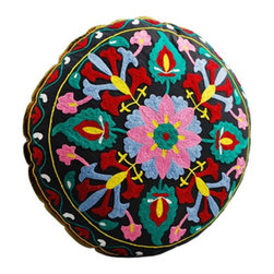 Wild Flower Floor Cushion - Our Wild Flower Floor Cushion will enhance your morning meditations, floor seating, and colorful accessorizing. Soft pastel pink and blue are complemented by bold red and yellow, while a calming turquoise seems to bridge the hues together.