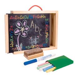 "Chalkboard Carry-All - Cute 12x10x2"" wooden carryall includes invertible chalkboard, colored chalk and eraser. Handle allows for easy transport."