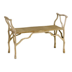 Beaujohn Bench - Stunning with its traditional Faux Bois technique of hand applied concrete over metal tubes, the Beaujohn Bench is lightweight and gives the appearance of being constructed of sticks and wood from an enchanted forest floor. Indoors or outdoors, this bench is a uniquely beautiful addition to any decor space.