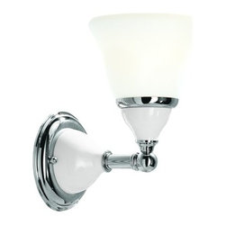 "Hudson Valley Lighting - Hudson Valley Lighting 461 Single Light 6"" Wide Bathroom Fixture from the Porcel - *Porcelain Collection 1 Light Wall Sconce White porcelain appointed with beautiful metallic accents. 6"" W x 9 3/4"" H x 8"" E 1-100w Medium Base (Not Included)"