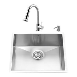 "VIGO Industries - VIGO All in One 23-inch Undermount Stainless Steel Kitchen Sink and Chrome Fauce - Create an inviting new look in your kitchen with a VIGO All in One Kitchen Set featuring a 23"" Undermount kitchen sink, faucet, soap dispenser, matching bottom grid and sink strainer."