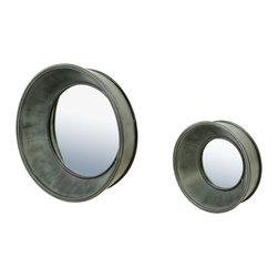 Bassett Mirror Company - Bassett Mirror Porthole Wall Mirror - Set/2 - Zinc - Porthole Wall Mirror - Set/2 - Zinc belongs to Steam Punk Collection by Bassett Mirror Company Porthole Wall Mirror - Set/2 - Zinc Mirror (2)