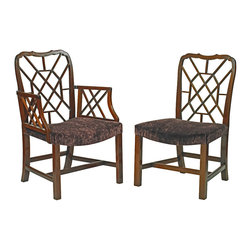 English Georgian America - Chinoiserie Dining Chairs - A mid 18th century design mahogany dining chair in the Chinese Chippendale Manner. Cockpen Dining Chairs. Arm or Side Chair.