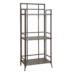 """Powell - Powell Foundry Antique Pewter Tall 3-Shelf Bookcase w/ Gallery Crown - The Foundry Tall 3-Shelf Bookcase with gallery crown is crafted from sturdy metal and finished in an """"Antique Pewter"""".  Accented with small rounded feet, this piece features clean straight lines that would complement styles from contemporary to traditional.  The spacious and deep three shelves provide ample storage and display space.  Some assembly required."""