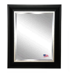 Rayne Mirrors - Rayne Grand Black and Aged Silver Wall Mirror, Black and Aged Silver, 27.5 X 33. - This large handsome wall mirror has a clean and crisp look that will be a refined addition to a bedroom or bathroom area.  This 3.5 inch wooden frame features a traditional profile with an aged silver linner.