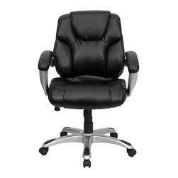 Flash Furniture - Flash Furniture Mid Back Black Leather Office Task Chair - Flash Furniture - Office Chairs - GO931HMIDBKGG - Very appealing mid-back office chair will highlight any office or home setting. Plush leather upholstery provides comfort with the extra thick padded seat and back. Built-in lumbar support will provide comfort when working for long hours. Chair features a silver nylon base with black caps that prevent feet from slipping. For your next office chair look no further than this extremely comfortable and stylish leather office chair! [GO-931H-MID-BK-GG]