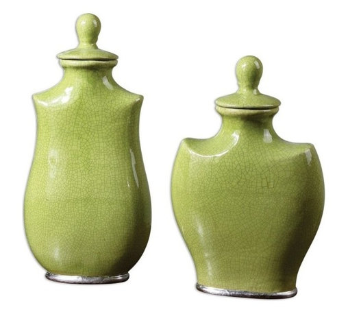 """Billy Moon - Billy Moon Irwyn Contemporary Container X-50891 - Crackled, bright green ceramic with metallic silver accents. Removable lids. Sizes: Small (10"""" x 15"""" x 5""""), Large (9"""" x 18"""" x 5"""")."""