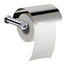 Windisch - Wall Mounted Toilet Roll Holder With Cover and White Crystal - Modern & contemporary wall mounted toilet roll holder with cover.