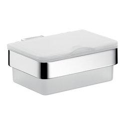 "WS Bath Collections - Loft 0539.001.00 Tissue Box - Loft 0539.001.00 , 5.5"" x 5.1"" x 2.4"", Tissue Box in Satin Crystal Glass/ Polished Chrome"