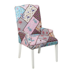 """Surya - Patchwork Tweed Linen Chair by Surya - Patched together in a staggered brick pattern is a rainbow of colors and patterns. Each tweed linen pattern is adorned with a bit of embroidery lending a vintagesque appeal. This fully upholstered chair provides a feminine touch for her office or bedroom. (SY) 24"""" wide x 43"""" high x 24"""" deep"""