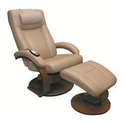 "Mac Motion - Oslo Collection Shiatsu Massage In Cobblestone Tan Leather Swivel Recliner - This ""Oslo Collection"" model offers 360 degree parameter swivel for stability. Its covered in a smooth ""Cobblestone"" Top-Grain Leather, while being accented by a warm ""Walnut"" wood finish. The new generation Shiatsu 8 roller massage system is made of advanced technology material with improved noise reduction. It offers the same massage care as a professional therapist. The body shaped rollers will massage the entire back or can be adjusted to stay stationary in a desired position, while it stretches. The Shiatsu mechanism acts as therapist's hands and helps improve blood circulation. It offers a great physical therapy effect for Rheumatoid Arthritis. All of this is included in a fashionable recliner without the appearance of a medical device. The neck pillow is optional"