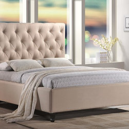 Roxbury Tufted Upholstered Platform Bed in Sand Color Fabric - Enjoy a deep and delicious night's sleep in the Roxbury Sand Upholstered Platform Bed. The gorgeous, hand tufted headboard is adorned with crystal button accents and will make this bed the centerpiece of your room.