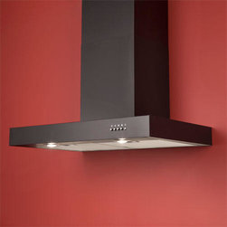 """36"""" Maestro Series Stainless Steel Black Wall-Mount Range Hood - 600 CFM - This Black wall-mount range hood will complete your contemporary kitchen or remodel. Features include halogen lights, a three speed blower and an adjustable flue to fit most ceiling heights."""