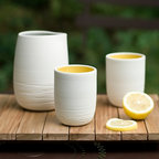 Scribble Tumbler - These elegant porcelain tumblers can be customized: You choose the color of the interior glaze from 16 beautiful and bright shades.