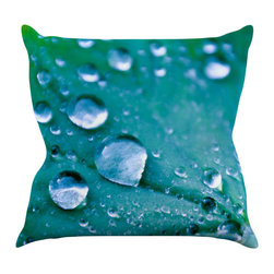 "Kess InHouse - Iris Lehnhardt ""Water Droplets Aqua"" Teal Throw Pillow (16"" x 16"") - Rest among the art you love. Transform your hang out room into a hip gallery, that's also comfortable. With this pillow you can create an environment that reflects your unique style. It's amazing what a throw pillow can do to complete a room. (Kess InHouse is not responsible for pillow fighting that may occur as the result of creative stimulation)."