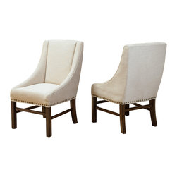 Great Deal Furniture - Claudia Fabric Dining Chairs (Set of 2), Natural Fabric - The Claudia Natural Fabric Dining Chair is a versatile solution in both form and function for your home. The elegant natural colored fabric is accented with nailhead detailing around the edges of the chair. The curves enhance the sturdy dark stained wooden frame and legs and offers the right balance between design and quality. Place these chairs in your dining room or use them as an accent or occasion chairs around the house.