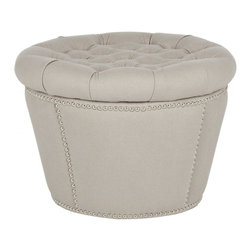 Safavieh - Roseau Storage Ottoman - Organic in color and fabric, the curvy Roseau Ottoman is a pretty and practical addition to any space. Taupe linen is used on its base and luxuriously button-tufted lid, which lifts to reveal hidden storage space inside. Fashion-right nickel nail head detailing adds a designer touch.