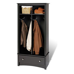 "Prepac - Black Entryway Organizer - Give your entryway, foyer or mudroom some much-needed storage with the Entryway Organizer. Keep your coats, jackets and sweaters neatly stored in the two divided hanging areas, and tuck away gloves, hats and scarves in the single drawer underneath. For everything else, there's the divided top shelf, the perfect space for school supplies, hats and other everyday items. This organizer is an indispensable piece in any busy home.; Finished in durable deep black laminate; Detailed with brushed nickel knobs; Drawer runs smoothly on metal glides with built-in safety stops; Constructed from CARB-compliant, laminated composite woods with a sturdy MDF backer; Ships Ready to Assemble, includes an instruction booklet for easy assembly and has a 5-year manufacturer's limited warranty on parts; Proudly manufactured in North America; Dimensions: Assembled Dimensions: 31.5""W x 68.75""H x 16""D; Bottom: 13""W x 42.75""H x 15.5""D,Top: 13""W x 9""H x 14""D,Drawer: 24.75""W x 5""H x 12.5""D"