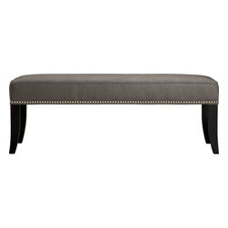 Colette Bench - Glamorous Colette bench is covered in a soft nickel grey upholstery and detailed with brushed pewter nailheads. Flared hardwood legs have a dark tuxedo finish.