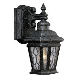 Progress Lighting - Progress Lighting P5661-71 Single-Light Outdoor Wall Lantern with Tiffany-Style - Striking beauty meets safety and security with this one light motion sensor lantern from Progress Lighting.  Stunning Tiffany style water seeded glass panels adorn the lantern while a scrollwork arm supports it. At the top, an integral motion sensor helps provide light when you need it most.  Energy Star compliance lets you be environmentally friendly while saving money too!Features: