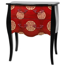 Red Shou Two Drawer Cabinet, Width 24.25 Inches Oriental Unlimited Cabinets Acce