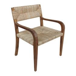 """Noir - Noir Bowie Armchair Teak - Organic texture provides the Noir Bowie armchair chic allure. Around its modern brown frame, beige seagrass offers the seat a naturally classic accent. 25.5""""W x 24""""D x 33.5""""H; Teak"""