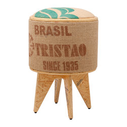 Pomada - Brasil Tristao Stool Ottoman - Cool beans! This stool is made from recycled and ecofriendly materials, and upholstery made from a used jute coffee bag. The lid is reversible — padded on one side and solid on the other — so you can rest your feet, your seat, or your bourbon neat.