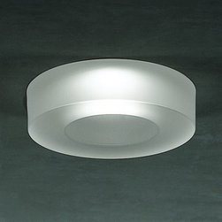 Leucos - Iside 2 Recessed Downlight - Iside 2 semi-recessed downlight features an acid-etched, poured glass diffuser available in a wide range of colors. Provides a narrow to wider beam spread, depending on the lamp, as well as a soft pleasant ceiling glow. Diffuser available in satin white, crystal, satin pink, aquamarine, pale blue, cobalt blue, jade green and mirrored chrome. Housing options include Remodel Housing, New Construction , Insulated Ceiling, Chicago Plenum, Air Tight and Vapor Tight. Fully recessed housing (included) equipped with thermal protection, magnetic transformer and junction box which houses the hand molded murano glass diffuser. Suitable for installation in all types of suspended modular ceilings and new construction. Mounting bars are provided with the new construction housing only. Available in LED version. One 50 watt, 12 volt, MR16 bipin lamp not included. Downward light distribution. c/UL listed. 4.5 inch diameter x 0.75 inch height.