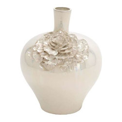 Benzara - Beijing Fancy Ceramic Vase - Beijing Fancy Ceramic Vase. Beijing ceramic vase is perfect for all interiors. This vase features very attractive flowers on its outer part with light and dark shades of cream color. Some assembly may be required.