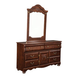 Standard Furniture - Standard Furniture Jaqueline 31 Inch Mirror in Cherry - Inspired by fairytales every princess dreams of, Jaqueline features a traditional look with a traditional design and attention to detail. Beautifully coordinated knob and bail pull hardware make opening and closing drawers an easy task. Wood products with simulated wood grain laminates. Group may contain some plastic parts. French dovetail. Roller side drawer guides. Pull and knob in simulated Spanish reg. finish. Zinfindale cherry color finish. Surfaces clean easily with a soft cloth.