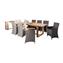 Westminster Teak Furniture - Apollo 9pc Luxury Outdoor Furniture Set - The Apollo Horizon Extendable Teak Dining Set consist of 1 Horizon Teak  Extension Table complemented with 8 Taupe Apollo Armchairs.