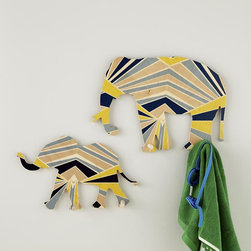 Elephant Flashy Forest Wall Hooks - Add color and pattern into your space with these whimsical elephant hooks.